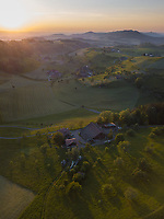 Aerial View of Idyllic Swiss Countryside in Zug, Switzerland