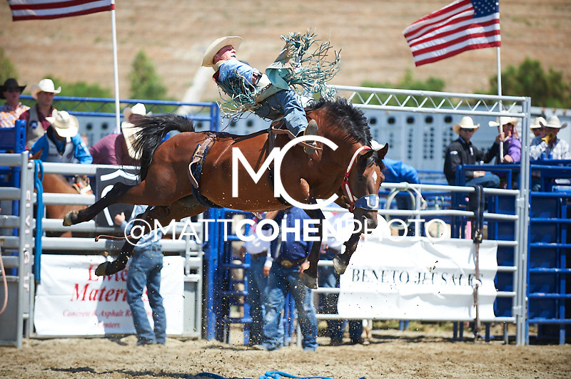 Bareback rider Casey Breuer of Mandan, ND rides 178 Wicked Felina at the Rancho Mission Viejo Rodeo in San Juan Capistrano, CA.  <br /> <br /> <br /> UNEDITED LOW-RES PREVIEW<br /> <br /> <br /> File shown may be an unedited low resolution version used as a proof only. All prints are 100% guaranteed for quality. Sizes 8x10+ come with a version for personal social media. I am currently not selling downloads for commercial/brand use.