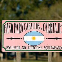 San Antonio de Areco, Argentina 20 August 2009<br /> A signpost in San Antonio de Areco, Buenos Aires province.<br /> PHOTO: EZEQUIEL SCAGNETTI