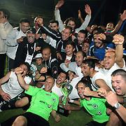 Konyaspor's players Erdal KILICARSLAN (F) celebrate with the BankAsya Cup trophy during their Turkish soccer Play Off final match Altayspor between Konyaspor at Ataturk Olympic Stadium in Istanbul Turkey on Sunday, 23 May 2010. Photo by TURKPIX