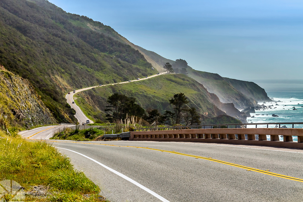 Highway 1 on the Big Sur Coast near Vicente Creek, looking south, California