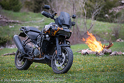 Danger Dan Hardick's 2-week old Harley-Davidson Pan-America adventure bike on a trail just outside Red River, NM, USA. Saturday, May 29, 2021. Photography ©2021 Michael Lichter.