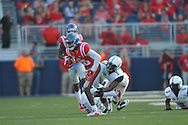 Mississippi Rebels wide receiver Cody Core (88) is tackled by Vanderbilt Commodores safety Arnold Tarpley (2) at Vaught-Hemingway Stadium at Ole Miss in Oxford, Miss. on Saturday, September 26, 2015.