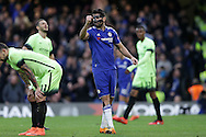 Diego Costa of Chelsea (c) celebrates after scoring his sides 1st goal to make it 1-0. The Emirates FA Cup, 5th round match, Chelsea v Manchester city at Stamford Bridge in London on Sunday 21st Feb 2016.<br /> pic by John Patrick Fletcher, Andrew Orchard sports photography.