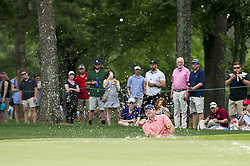 May 5, 2019 - Charlotte, North Carolina, United States of America - Patrick Reed plays a shot from the bunker on the ninth hole during the final round of the 2019 Wells Fargo Championship at Quail Hollow Club on May 05, 2019 in Charlotte, North Carolina. (Credit Image: © Spencer Lee/ZUMA Wire)