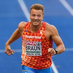 Pieter Braun, 11,33s op de 100m meerkamp bij het EK atletiek in Berlijn op 7-8-2018