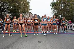Tufts Health Plan 10K for Women elite women runners await the start of race, Jordan Hasay,  Juliet Bottorff, Sara Hall, Emily Sisson, Alvina Begay, Kellyn Johnson, Alisha Williams