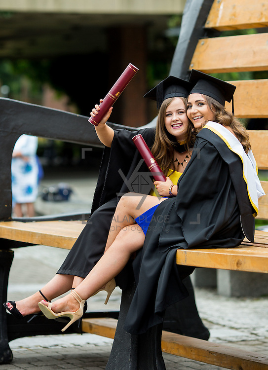 """23.08.2016        <br /> Over 300 students graduated from the Faculty of Arts Humanities and Social Sciences at the University of Limerick today. <br /> <br /> Attending the conferring ceremony were Bachelor of Arts in Journalism and New Media graduates, Melissa Shannon, Devlin, Co. West Meath and Anna Clancy, Upperchurch Co. Tipperary. Picture: Alan Place.<br /> <br /> <br /> <br /> <br /> UL Graduates Employability remains consistently high as they are 14% more likely to be employed after Graduation than any other Irish University Graduate<br /> Each year, the Careers Service collects information about the 'First Destinations' of UL graduates. During the April/May period following graduation, we survey those who have completed full-time undergraduate and postgraduate courses for details on their current status. This current survey was conducted nine months after graduation and focuses on the employment and further study patterns of the graduates of 2015. A total of 2,933 graduates were surveyed and a response rate of 87% was achieved. <br /> As the University of Limerick commences four days of conferring ceremonies which will see 2568 students graduate, including 50 PhD graduates, UL President, Professor Don Barry highlighted the continued demand for UL graduates by employers; """"Traditionally UL's Graduate Employment figures trend well above the national average. Despite the challenging environment, UL's graduate employment rate for 2015 primary degree-holders is now 14% higher than the HEA's most recently-available national average figure which is 58% for 2014"""". The survey of UL's 2015 graduates showed that 92% are either employed or pursuing further study."""" Picture: Alan Place"""