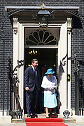 © Licensed to London News Pictures. 24/07/2012. Westminster, UK DAVID CAMERON AND HRH QUEEN ELIZABETH II. The British Prime Minister David Cameron hosts a lunch today 24th July 2012 at Downing Street for HM The Queen and the Duke of Edinburgh with the Deputy Prime Minister and past Prime Ministers, Sir John Major, Tony Blair and Gordon Brown. Photo credit : Stephen Simpson/LNP
