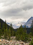 View up Yoho Valley, near Takakkaw Falls on an overcast day; Yoho National Park, near Golden, British Columbia, Canada
