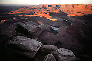 View of the Colorado River at sunrise from Dead Horse Point, Utah. USA.