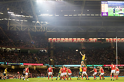 Izack Rodda of Australia claims the lineout<br /> <br /> Photographer Simon King/Replay Images<br /> <br /> Under Armour Series - Wales v Australia - Saturday 10th November 2018 - Principality Stadium - Cardiff<br /> <br /> World Copyright © Replay Images . All rights reserved. info@replayimages.co.uk - http://replayimages.co.uk