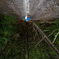 Cory Rogans climbing Rainy Day Dream Away 5.10c at the Campground Wall in Squamish BC.