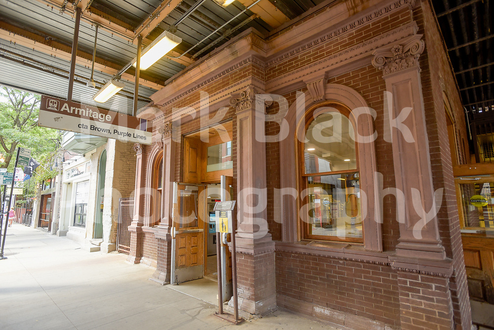 The Chicago Transit Authority's (CTA) historic Armitage L Stop building in Chicago, Illinois on Friday, Sept. 4, 2020. Photo by Mark Black