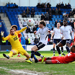 TELFORD COPYRIGHT MIKE SHERIDAN 23/3/2019 - James McQuilkin of AFC Telford has his shot saved by Dean Brill of Orient during the FA Trophy Semi Final fixture between AFC Telford United and Leyton Orient at the New Bucks Head