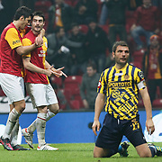 Galatasaray's Albert Riera Ortega (C) celebrate his goal with team mate during their Turkish Super League soccer match Galatasaray between MKE Ankaragucu at the TT Arena at Seyrantepe in Istanbul Turkey on Wednesday, 25 January 2012. Photo by TURKPIX