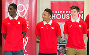 University of Houston basketball players listen to comments during the Read for the NCAA Final Four kick-off at Blackshear Elementary School, September 24, 2015.