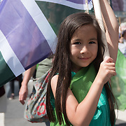 """London, England,UK. 10 June 2018. 50:50 to march together at """"Processions"""" a celebration of 100 years of Women getting the vote, march through London."""