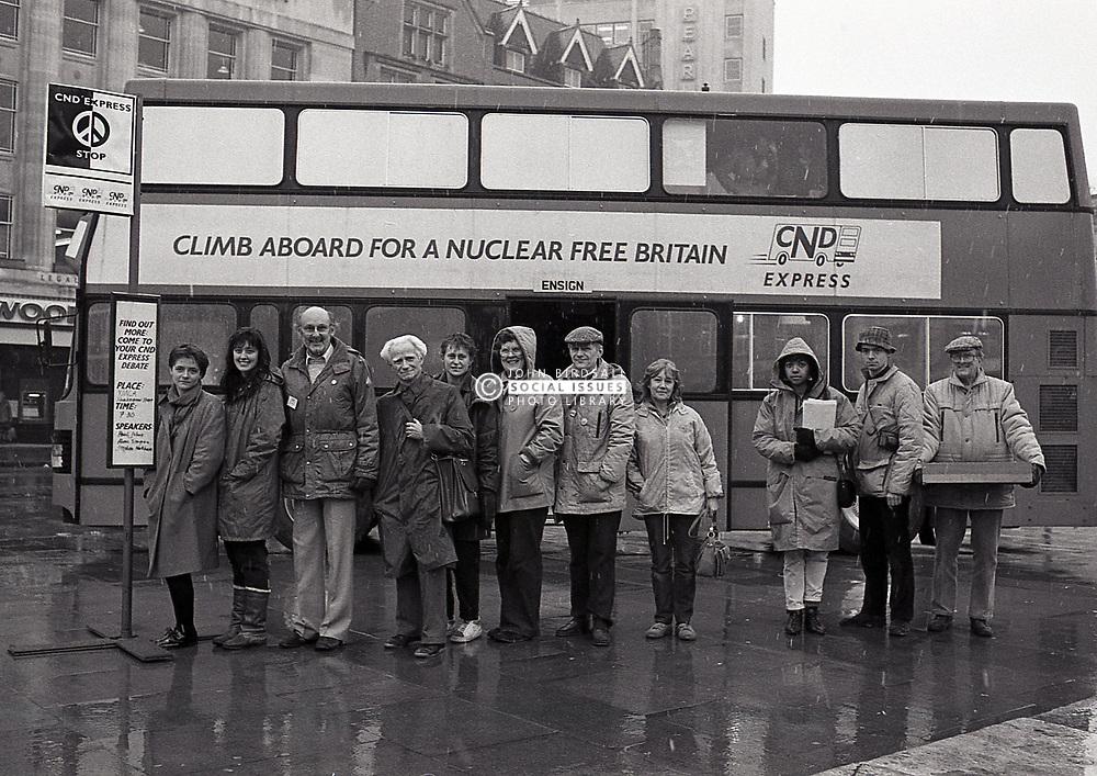 CND express bus, Nottingham UK March 1987