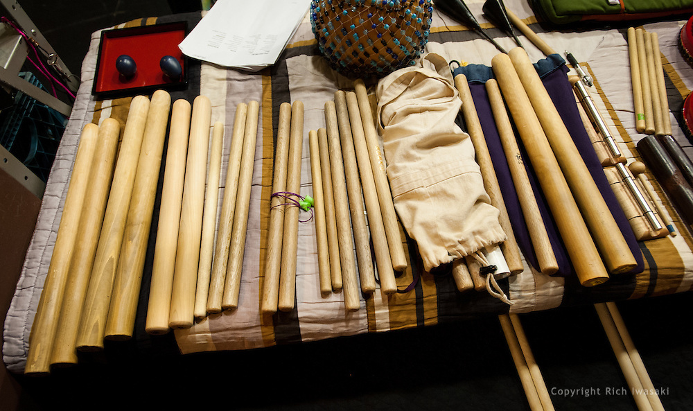 High angle view of drum sticks and accessories prior to Portland Taiko concert Making Waves, Portland State University Lincoln Performance Hall, Portland, Oregon