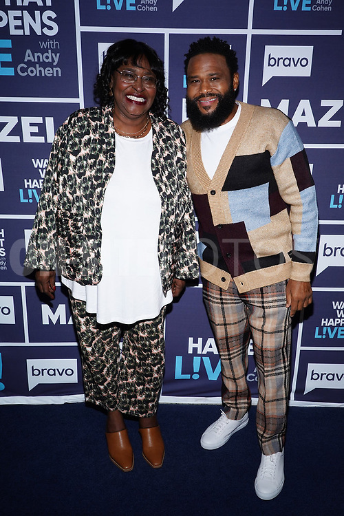 WATCH WHAT HAPPENS LIVE WITH ANDY COHEN -- Episode 18162 -- Pictured: (l-r) Doris Hancox, Anthony Anderson -- (Photo by: Charles Sykes/Bravo)