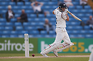 Yorkshire Batsman Joe Root  plays the ball down to third man during the Specsavers County Champ Div 1 match between Yorkshire County Cricket Club and Surrey County Cricket Club at Headingley Stadium, Headingley, United Kingdom on 10 May 2016. Photo by Simon Davies.