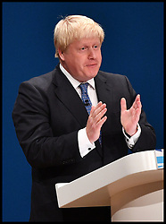 October 2, 2016 - Birmingham, United Kingdom - Image ©Licensed to i-Images Picture Agency. 02/10/2016. Birmingham, United Kingdom. Conservative Party Conference - Day One. Conservative Party Conference, Foreign Secretary Boris Johnson speaking  on Day one of the Conservative Party Conference at Birmingham ICC. Picture by Andrew Parsons / i-Images (Credit Image: © Andrew Parsons/i-Images via ZUMA Wire)