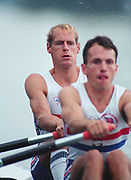 Tampere Kaukajaervi,  FINLAND.  Men's Lightweight Double Sculls, GBR LM2X Bow Carl SMITH and Andy SINTON,  competing at the 1995 World Rowing Championships - Lake Tampere, 08.1995<br /> <br /> [Mandatory Credit; Peter Spurrier/Intersport-images] Re-Edited and file ref No. updated, 16th January 2021.
