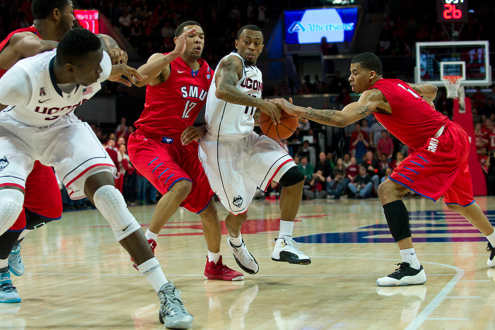 DALLAS, TX - JANUARY 4: Ryan Boatright #11 of the Connecticut Huskies brings the ball up court against the SMU Mustangs on January 4, 2014 at Moody Coliseum in Dallas, Texas.  (Photo by Cooper Neill) *** Local Caption *** Ryan Boatright