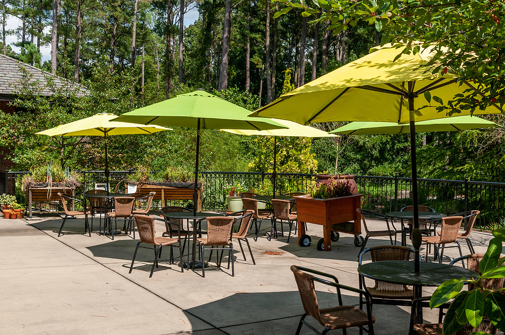 Outdoor seating on the patio at the Cape Fear Botanical Garden in Fayetteville, North Carolina on Wednesday, August 18, 2021. Copyright 2021 Jason Barnette