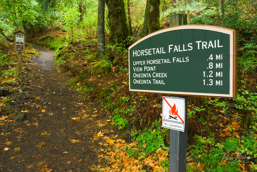 Horsetail Falls trail sign, Columbia River Gorge National Scenic Area, Oregon
