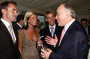 Andy Hipkiss, Caroline Feraday,guest and Michael Howard,  Conservative Party Chairmen's Summer reception, House of Commons Terace, 7 July 2004. SUPPLIED FOR ONE-TIME USE ONLY-DO NOT ARCHIVE. © Copyright Photograph by Dafydd Jones 66 Stockwell Park Rd. London SW9 0DA Tel 020 7733 0108 www.dafjones.com