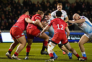 Sale Sharks flanker Ben Curry runs at Saracens hooker Tom Woolstencroft and prop Titi Lamositele during a Premiership Rugby Cup Semi Final won by Sale 28-7, Friday, Feb. 7, 2020, in Eccles, United Kingdom. (Steve Flynn/Image of Sport)