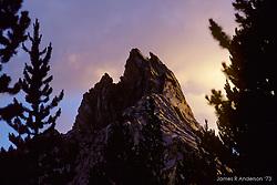Ragged Peak at Dusk, Young Lakes, Yosemite National Park. View shot on Kodachrome II, Nikon Ftn camera, Nikor 105mm f/2.5 lens, 1 August 1973