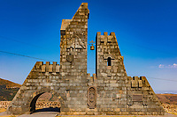 entrance gate monumen of Goris landmark of Syunik province Armenia eastern Europe