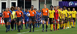 October 12, 2018 - Edinburgh, Scotland, United Kingdom - Edinburg, NC - OCTOBER 11: 2018.Referee Sobers, Crystal Nnenia Tahirah (With Ball) and Cuba and Jamaica Teams coming out .During CONCACAF Women's Championship Group B match between Cuba against Jamaica at H-E-BPark Stadium, Edinburg,  on October 11, 2018  (Credit Image: © Action Foto Sport/NurPhoto via ZUMA Press)