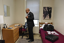 Aretha Franklin Died at 76 on August 16, 2018 - Morehouse President David Thomas wears a neck keychain with his room key after he moved into his room at historic Graves Hall in Morehouse College on Tuesday, August 7, 2018. Photo by Hyosub Shin/Atlanta Journal-Constition/TNS/ABACAPRESS.COM