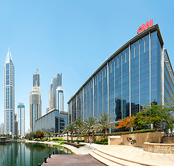 View of Media City business district with many media and news company offices in Dubai United Arab Emirates