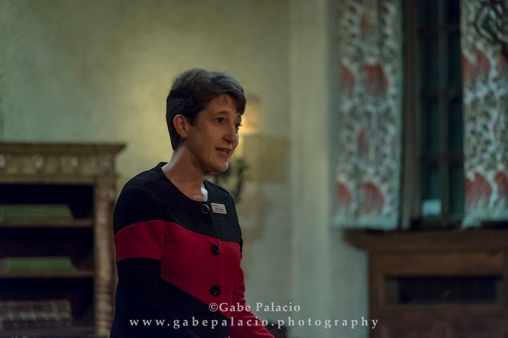 Kathy Schuman, Vice President, Artistic Programming & Executive Producer, introduces the performance by Tenet in the Music Room of the Rosen House at Caramoor in Katonah New York on December 16, 2017. <br /> (photo by Gabe Palacio)