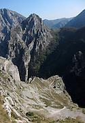 Hiking down from the village of Tresviso, in the Picos de Europa national park, a hamlet famous for its goat's cheese. The switchbacks wind down the hillside into the valley below.