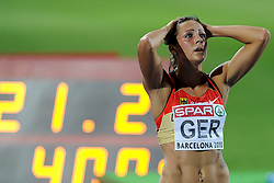 01-08-2010 ATLETIEK: EUROPEAN ATHLETICS CHAMPIONSHIPS: BARCELONA<br /> Germany (GER) - Silver Medal 4x400m Relay Women Final / KOHLMANN, Fabienne, GER <br /> ©2010-WWW.FOTOHOOGENDOORN.NL
