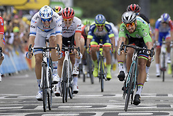 July 20, 2018 - Valence, France - Slovak PETER SAGAN of Bora-Hansgrohe (at right) passes Norwegian ALEXANDER KRISTOFF of UAE Team Emirates to win the 13th stage in the 105th edition of the Tour de France cycling race, from Bourg d'Oisans to Valence (169,5 km). (Credit Image: © Yorick Jansens/Belga via ZUMA Press)
