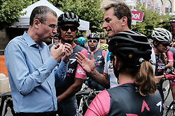 May 4, 2018 - Jerusalem, Israel - YARIV LEVIN (L), Minister of Tourism, meets with Israel Cycling Academy riders, taking part in Giro d'Italia, the Corsa Rosa, for the first time. The 101st edition of Giro d'Italia begins today in Jerusalem, history being made with the first ever Grand Tour start outside of Europe. Competing riders set out for the 9.7Km Jerusalem Individual Time Trial Stage 1. (Credit Image: © Nir Alon via ZUMA Wire)