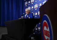 CHICAGO, IL - OCTOBER 28:  Manager Joe Maddon of the Chicago Cubs addresses the media prior to Game 3 of the 2016 World Series at Wrigley Field on Friday, October 28, 2016 in Chicago, Illinois. (Photo by Ron Vesely/MLB Photos via Getty Images)