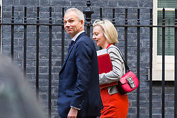London, October 17 2017. Lord Chancellor and Secretary of State for Justice David Lidington and Chief Secretary to the Treasury Liz Truss leave the UK cabinet meeting at Downing Street. © Paul Davey
