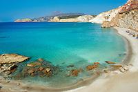 Europe, Grece, Mer Egée, Cyclades, île de Milos, plage de Firiplaka // Firiplaka beach, turquoise beach, Milos Island, Cyclades Islands, Greek Islands, Aegean Sea, Greece, Europe