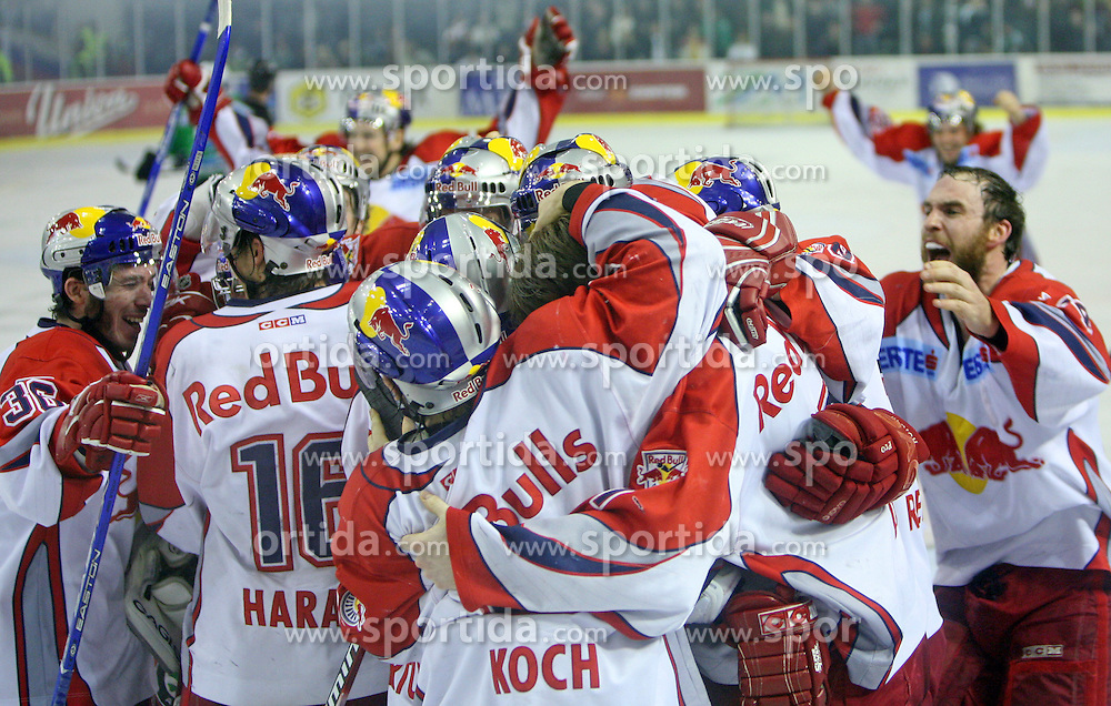 Players of Red Bull Salzburg from Austria celebrate victory in sixth game of the Final of EBEL league (Erste Bank Eishockey Liga) between ZM Olimpija vs EC Red Bull Salzburg,  on March 25, 2008 in Arena Tivoli, Ljubljana, Slovenia. Red Bull Salzburg won the game 3:2 and series 4:2 and became the Champions of EBEL league 2007/2008.  (Photo by Vid Ponikvar / Sportal Images)..