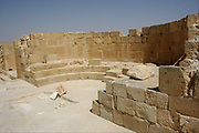 St. Nilos church (Eastern Church) in Mamshit from the 4th century CE. Mamshit is the Nabatean city of Memphis. In the Nabatean period, Mamshit was important because it sat on the route from the Idumean Mountains to the Arava, continued on to Beersheva or to Hebron and Jerusalem. The city covers ten acres and is the smallest but best restored city in the Negev Desert.
