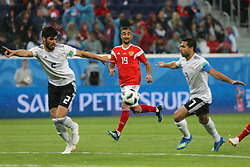 June 19, 2018 - Saint Petersburg, Russia - Alexander Samedov of the Russia national football team vie for the ball during the 2018 FIFA World Cup match, first stage - Group A between Russia and Egypt at Saint Petersburg Stadium on June 19, 2018 in St. Petersburg, Russia. (Credit Image: © Igor Russak/NurPhoto via ZUMA Press)
