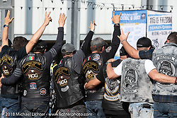 Mexican Riders at the Harley-Davidson Museum, where the multi-acre campus acted as the central rally point during the Harley-Davidson 115th Anniversary Celebration event. Milwaukee, WI. USA. Thursday August 30, 2018. Photography ©2018 Michael Lichter.